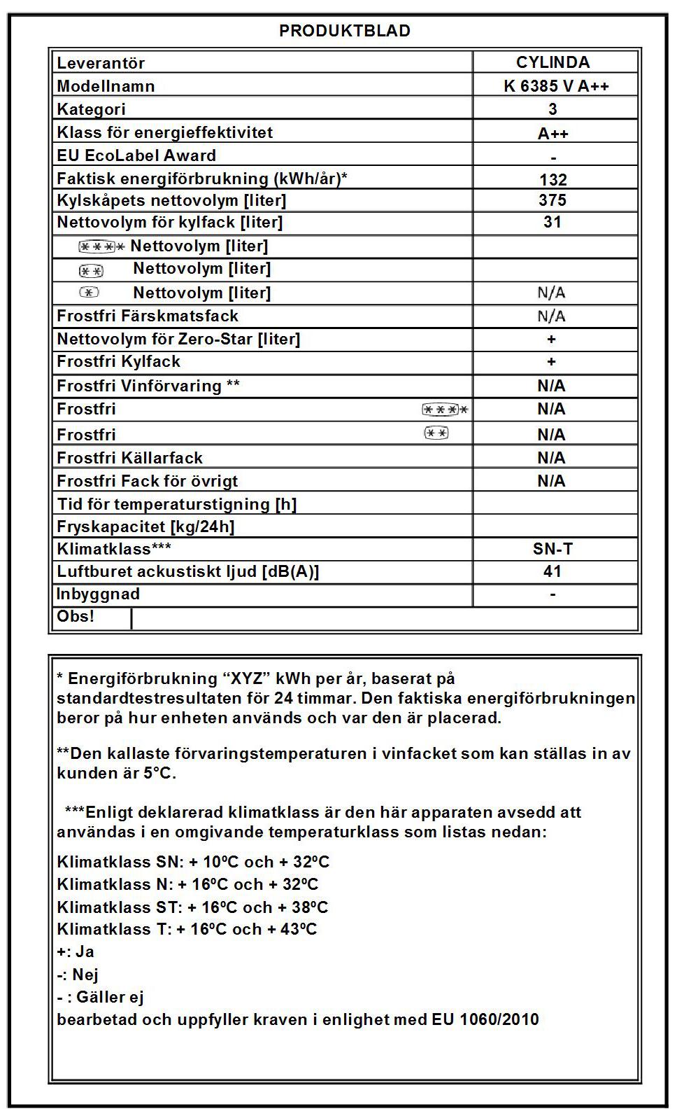 Kylskåp K 6385 V A++ VIT - Cylinda